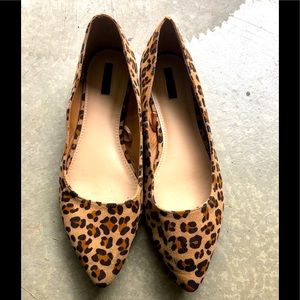 Leopard pointy toe Flats